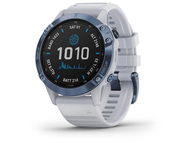 Garmin Fenix 6 Pro Solar GPS Smartwatch, stone white/blue titan